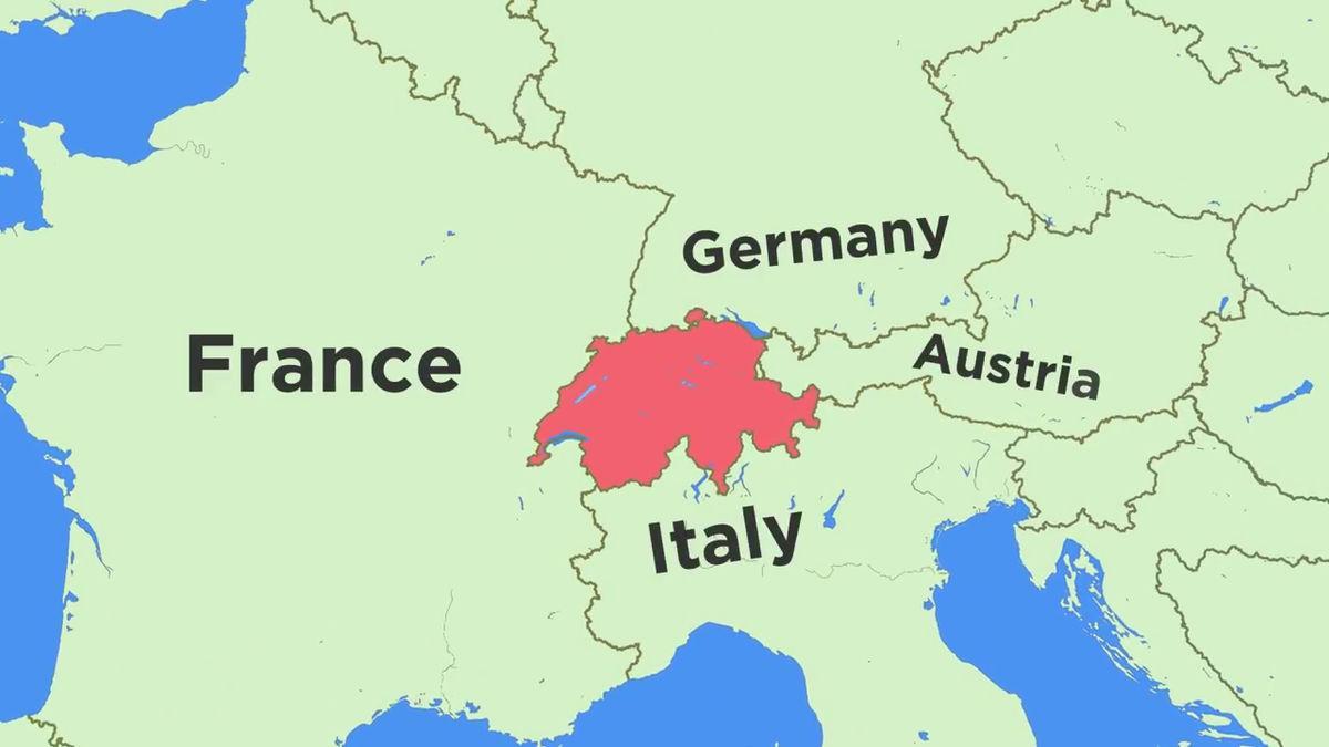 Kart Over Sveits Og Omkringliggende Land Kart Over Sveits Og
