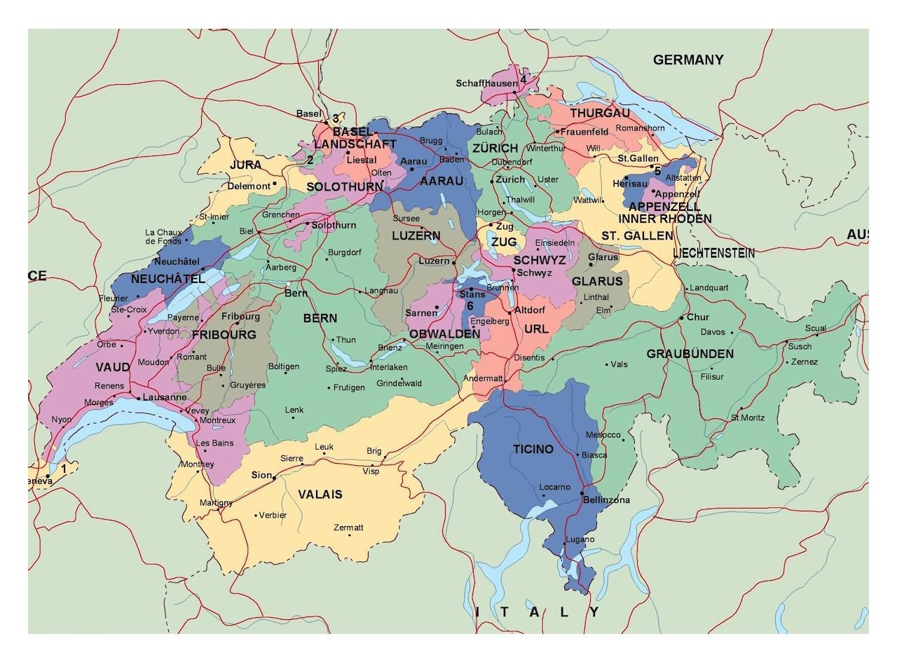 Kart Zurich Sveits Omradet Kart Over Zurich Sveits Og Omradet